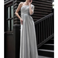 2012 New In Stock Dresses Elegant A-line One-shoulder Satin Weave Floor Length Appliques Evening Dress -SinoSpecial.com