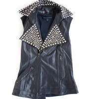 Motorcycle leather vest with cone studded details