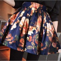 Vintage Inspired High Waist Navy Floral Full Skirt. Pleated Skirt