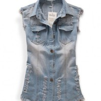 Oversized Faded and Washed Denim Vest with Distressed Detail