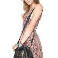 Brandy ♥ Melville |  Gold Studded Design Bucket Bag - Purses - Bags - Accessories