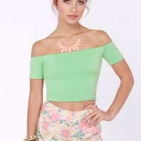 Crop Top Story Mint Green Off-the-Shoulder Top