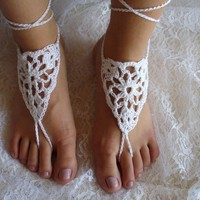Crochet Barefoot Sandals Beach Wedding Pool Fashion Bridal Accessory White