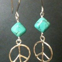 Peace earring, Natural Turqouise, sterling silver