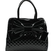 Amazon.com: Scarleton Quilted Patent Faux Leather Satchel H104801 - Black: Shoes