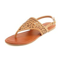 Laser-Cut Slingback Flat Sandal: Charlotte Russe