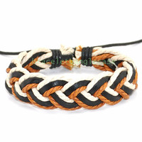 Adjustable leather bracelet with leather and hemp ropes woven gifts for men or women ,Father's day gift  d-357