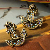 Free Shipping Retro Anchor Pattern Faux Jewels Earrings