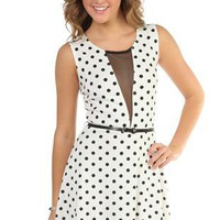 polka dot deep v neck illusion casual skater dress with belt - 1000046483 - debshops.com