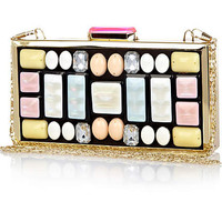 Pink gem stone embellished box clutch bag - clutch bags - bags / purses - women