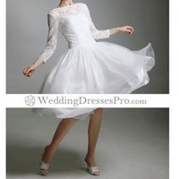 A-line Scoop Tea-length Satin Wedding Dress (TBGWD017) [TBGWD017] - $104.79 : wedding fashion, wedding dress, bridal dresses, wedding shoes