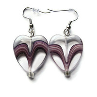 Glass Heart Earrings. Amethyst Purple Swirl. Hypoallergenic Silver Toned Hooks. Valentine's Day Gift.