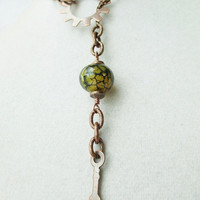 Steampunk Green Serpent Eye Fire Agate & Gear Long Lariat Necklace