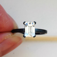 Perfectly Faceted Emerald Cut White Topaz in Oxidized Sterling Custom Made in Your Size