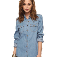 Horn Button Denim Shirt | FOREVER21 - 2000036685