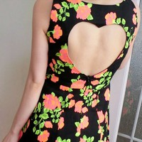 Buy Flower Heart backless dress on Shoply.