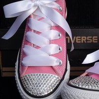 Customised Pink Converse All Star with Swarovski Crystals from Added-Sparkles