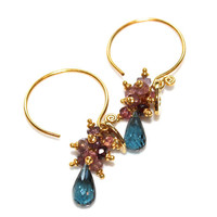 London Blue Topaz Earrings Pink Spinel Bali Gold Vermeil Heart Charm Dangle Cluster Earrings