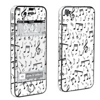 Apple iPhone 4 or 4s Full Body Decal Vinyl Skin - Music Note White By SkinGuardz:Amazon:Cell Phones &amp; Accessories