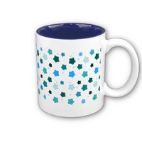 Blue Star Flower Pattern Mugs from Zazzle.com