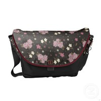 Vintage Pink Roses on black Floral pattern Commuter Bag from inspirationzstore