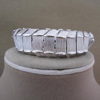 Vintage Silver Metal Linked Monet Bracelet