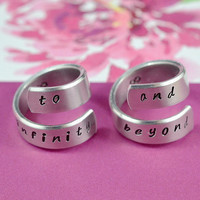 to infinity and beyond - Spiral Rings, Hand stamped, Handwritten Font, Shiny Aluminum, Forever Love, Friendship, V.1