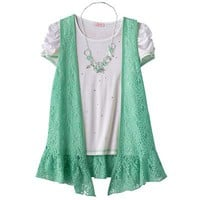Candie's Lace Floral Vest Set - Girls 7-16