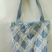 Reversible Cotton Tote Classy Blue with Lace Portion of Proceeds to Charity