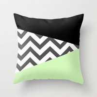 Color Blocked Chevron 3 Throw Pillow by Josrick