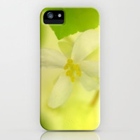 Yellow flower iPhone & iPod Case by Guido Montañés