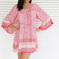 Dress Tunic Bell Sleeve Boho Print Coral
