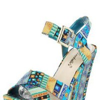 Leslie04 Tribal Stripe Ankle Strap Wedges TURQUOISE:Amazon:Shoes