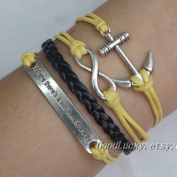 "Leather Bracelet,Infinity Bracelet,Anchor Bracelet,""Where There's a Will There's a Way""Bracelet-Yellow wax rope,Black leather bracelet"