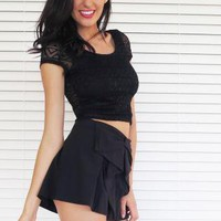Shorts Bow High Waist Black