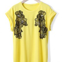 Lace Decor T-shirt in Yellow