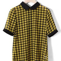 Houndstooth Chiffon T-shirt in Black/Yellow