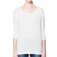 3/4 LENGTH SLEEVE T-SHIRT - T-shirts - Woman - ZARA United States
