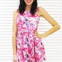Dress Juliana Full Skirt in Pink Floral