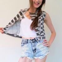 Edgy Printed Sleeveless Crop Jacket Vest