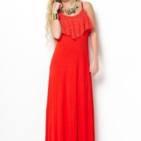 Crochet Overlay Red Maxi Dress