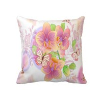 Pink Flowers ,Butterflies, Decorative Throw Pillow from Zazzle.com