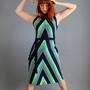 1960s Navy Blue Green Chevron Stripes Mod Dress. Day Dress. Mad Men Fashion. Summer. Fall. Office. Size Large