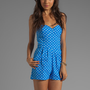 Dolce Vita Chale Neon Dots Romper in Neon Blue from REVOLVEclothing.com