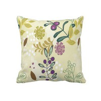 Colorful and Floral Decorative Throw Pillow from Zazzle.com