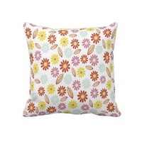 Yellow, Red, Pink, Blue Flowers Decorative Pillow from Zazzle.com