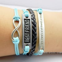 "You are my best friend bracelet,""Where There's a Will There's a Way""&Best Friend and infinity  bracelet,blue,black wax rope leather bracelet"