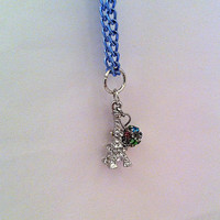Little Rhinestone Eiffel Tower charm with rainbow pave bead on blue chain