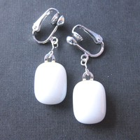 White Glass Clip-On Earrings, Dangle Clip Back Earrings - White Light - 1418