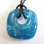 Glass Necklace, Blue Donut Fused Glass Necklace - Open Water - 3859